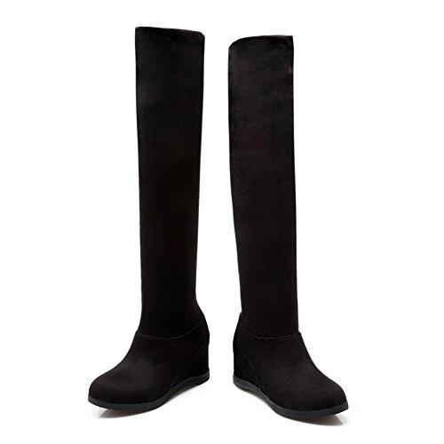 AllhqFashion Mujeres Sin cordones Tacón Alto Esmerilado Sólido Caña Alta Botas Negro