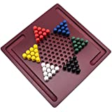 Chinese Checkers Board Game by GrowUpSmart | Mini Wooden Travel Set with Coloured Pegs for Kids
