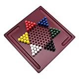 Chinese Checkers Board Game by GrowUpSmart | Mini Wooden Travel Set with Coloured