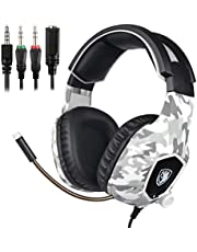 SADES PS4 Gaming Headphones, SA818 3.5mm Wired Over-ear Noise Canceling Gaming Headset for New Xbox One/PC (Black-blue)