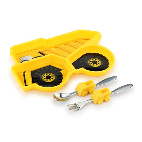 KidsFunwares Me Time Meal Set (Dump Truck) - 3-Piece Set for Kids and Toddlers - Plate, Fork and Spoon that Children Love - Sparks your Child's Imagination & Teaches Portion Control - Dishwasher Safe