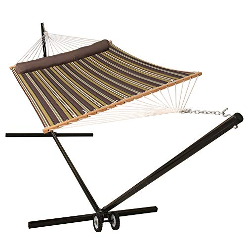 Lazy Daze Hammocks 15 Feet Heavy Duty Steel Hammock Stand with Wheel Two Person Quilted Fabric Hammock and Pillow Combo, Classic Brown Stripe (Quilted Hammock Fabric Large)