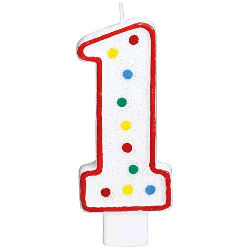 """Hot Amscan Party Perfect Flat Molded Multicolored Polka Dot Number 1 Celebration Candle, White, 5"""" Wax for sale"""