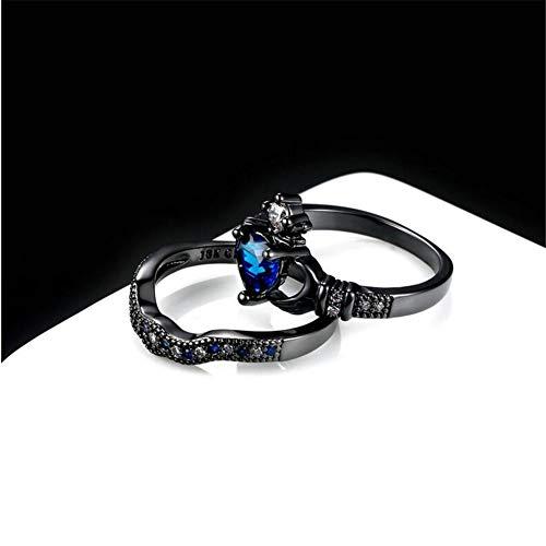 ee318f7393 LOVERSRING Couple Ring Bridal Set His Hers Black Claddagh Ring Heart Shape  Rhinestone Stacking Irish Ring