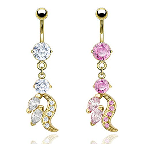 (# 24K Gold CZ Flame Dangle Belly Ring 14G (1.6MM) #177 (Pink))