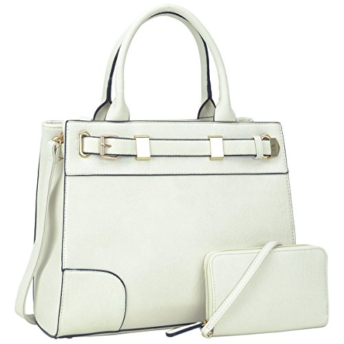 Dasein Women Classic Top Handle Satchel Handbag Briefcase Shoulder Bag Work Bag With Free Coin Purse (6716 White)