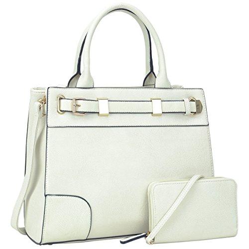 Dasein Medium Top Handle Handbag for Women Designer Satchel Purse Structured Shoulder Briefcase (6716-white) (White Designer Purses)
