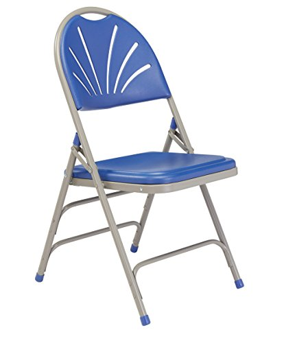 National Public Seating 1100 Series Steel Frame Polyfold Fan Back Double Hinge Folding Chair with Triple Brace, 480 lbs Capacity, Blue/Gray (Carton of 4)