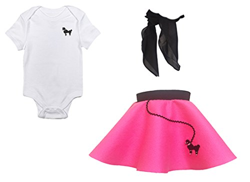 (Hip Hop 50s Shop Baby/Infant 3 Piece Poodle Skirt Costume Set - Hot Pink (12)