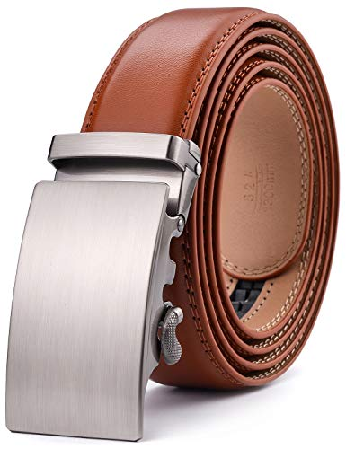 (Men's Belt - Autolock Leather Rachet Dress Belt for Men With Automatic Buckle - Enclosed in an Elegant Gift Box)
