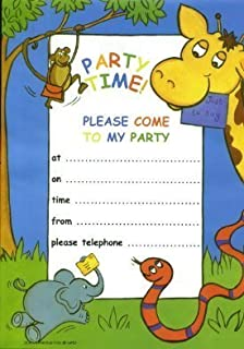 12 boys girls kids childrens birthday party invitations card with jungle party invitations 20 sheets envelopes stopboris Image collections