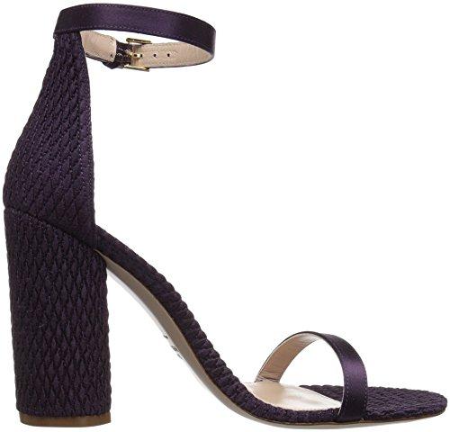 Stuart Weitzman Women's Nuquilt Heeled Sandal Eggplant Silk Satin 95jo4C5
