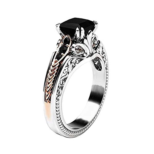 - Black Diamond Hollow Princess Ring Women Color Separation CZ Black Gemstone Silver Floral Wedding Engagement Ring