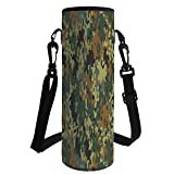iPrint Water Bottle Sleeve Neoprene Bottle Cover,Camo,Classical Germany Camouflage Pattern Forest Jungle Military Colors,Dark Green Light Green Brown,Fit for Most of Water Bottles