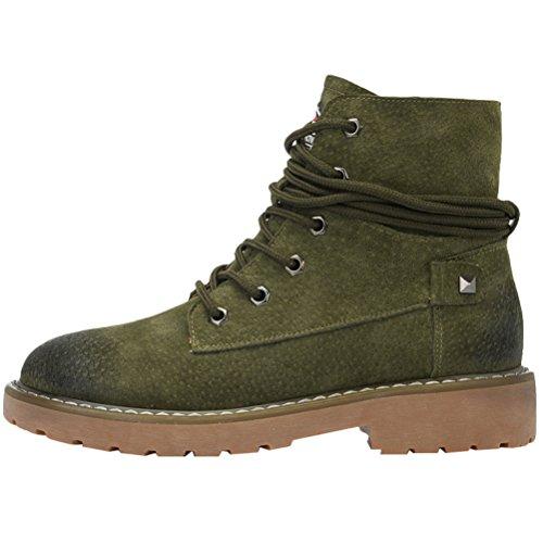Vogstyle Stiefeletten Worker Boots Kurzschaft Stiefel Blockabsatz Schnürstiefeletten Freizeit Schuhe für Damen Armeegrün