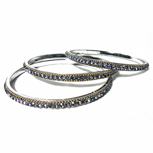 MG Collection Pewter Gray Austrian Crystal Silver Tone Metal Bangle Bracelets - Set of 3