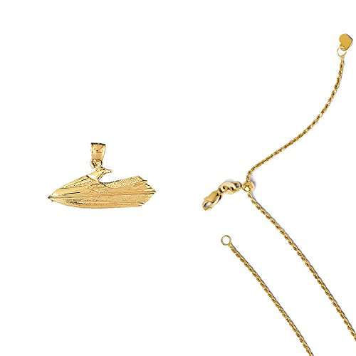 14K Yellow Gold Jet Ski Pendant on an Adjustable 14K Yellow Gold Rope Chain Necklace, - Ski 14k Gold Jet