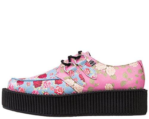 T.U.K. AV9042 TUK scarpe Donna Motivo Floreale Vegan Creepers fiori