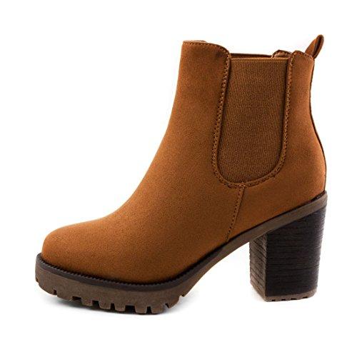 Stylische Damen Ankle Chelsea Boots Stiefeletten mit Blockabsatz in hochwertiger Lederoptik Camel