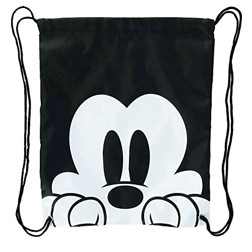 Disney Mickey Mouse Face Drawstring Tote Backpack, Black