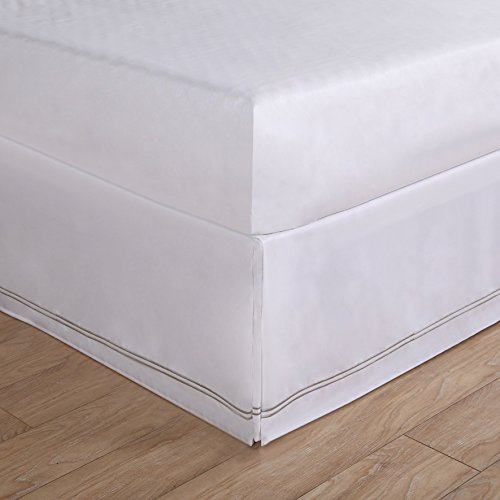Luxury Hotel Tailored Bed Skirt - Silver Baratta Stitched Hem Silver, Queen