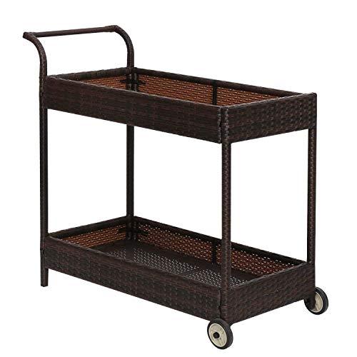 Kinbor 2-Tier Serving Rattan Wicker Rolling Bar Cart Outdoor Modern Coffee Cocktail Bar Cart with ()