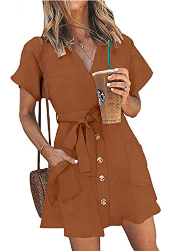 Striped Belted Shirt Dress - OEUVRE Womens Sexy Wrap V Neck Button Down Shirt Dress Striped Short Sleeve Belted A Line Swing Dress with Pocket Orange L