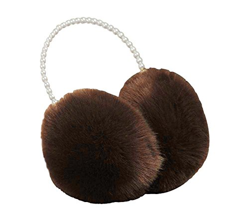 [Brown] Ear Warmer With Bead Frame Winter Ear Protector Fur Earmuffs