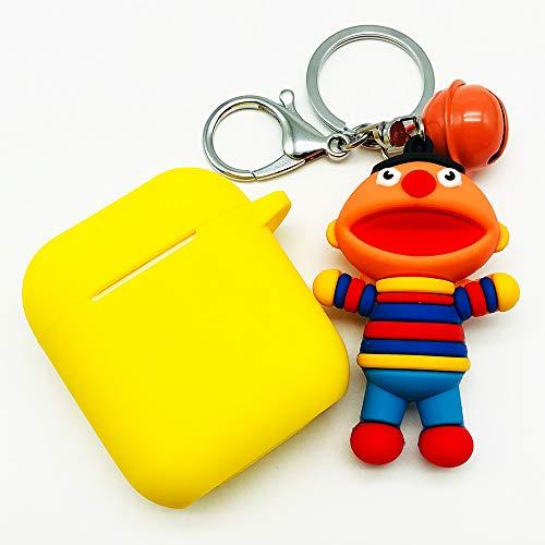 AirPods 에어팟 케이스 Keychain Airpods 액세서리 보호용 실리콘 커버와 열쇠 고리가있는 스킨 커버와 Apple Airpods 충전 케이스