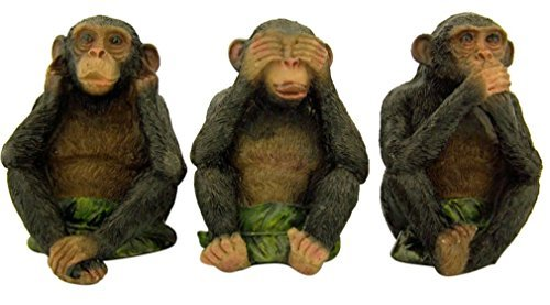 Three Wise Monkeys See Hear Speak No Evil Resin Figurines, 4 Inch]()