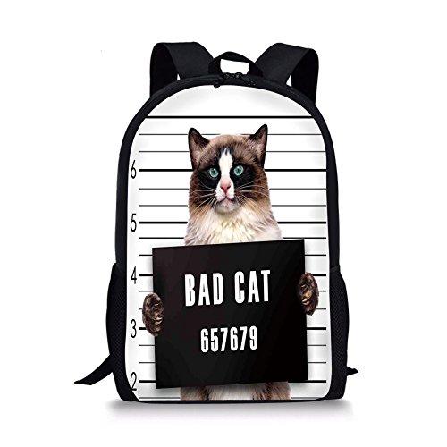 (iPrint School Bags Cat Lover Decor,Bad Gang Cat in Jail Kitty Under Arrest Criminal Prisoner Hangover Artsy Work,Brown Black White for Boys&Girls Mens Sport Daypack)