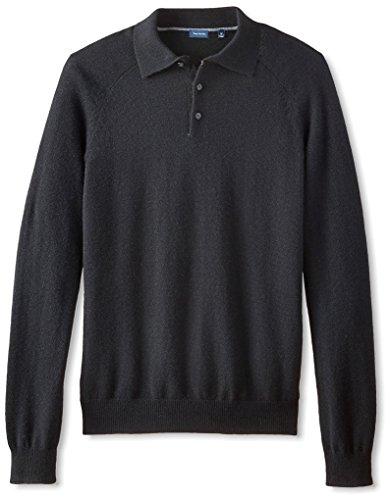 Cashmere Polo - Thirty Five Kent Men's Cashmere Three Button Polo, Black, M