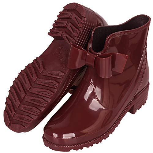 YOOEEN Womens Rain Boots Short Rubber Boot Waterproof Work Garden Shoes Anti-Slip Outdoor Ankle Wellies Wine Red ()