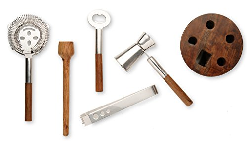 Francois et Mimi Stainless Steel Cocktail Bar Tool Kit Set; Includes Ice Tongs, Muddler, Stirring Spoon, Strainer, and Bar Key / Bottle Opener with Unique Wood Storage Rack - Stainless Steel Steel Bar Tool Set