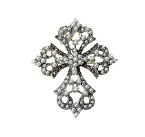 Pearl And Marcasite Pin (Seed Pearl and Marcasite Cross Pin / Pendant)