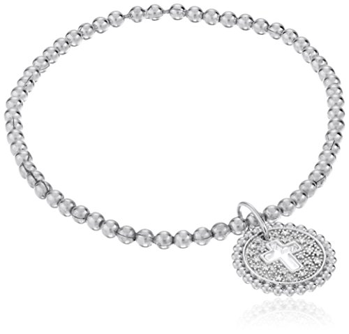 Sterling Silver White Diamond Stretch Bead Cross Cut Out with Charm Bracelet