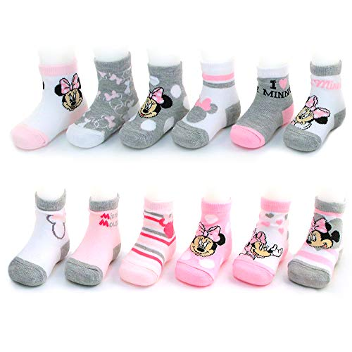 Disney Baby Girls Assorted Minnie Mouse Designs 12 Pair Socks Variety Set, Age 0-24 Months (12-24 Months, Pink-White-Grey Collection) (Disney Shoes Baby Size 5)