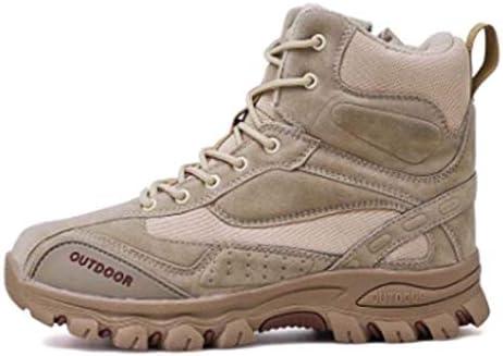 砂漠の戦闘靴は耐久性のある屋外の滑り止めのためのスタイル両面スエードラバーソールは、男性用の靴をひもで締めるトレッキング (色 : ベージュ, サイズ : 26.5 CM)