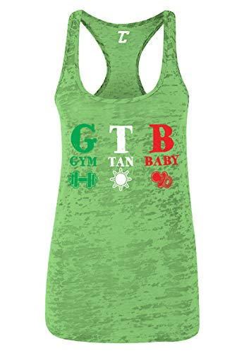 Gym Tan Baby - Beach Shore TV Show Parody Women's Racerback Tank Top (Kelly Green, Small) ()