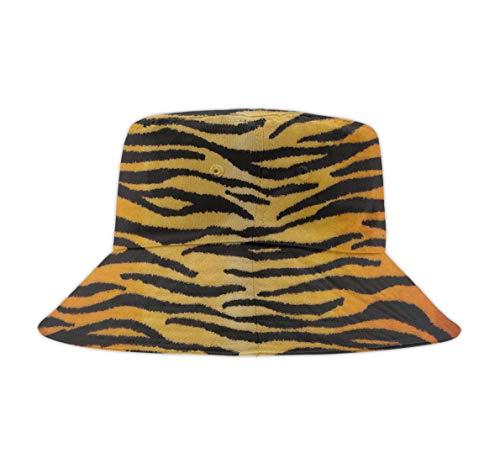Tiger Print Hat - Bucket Hats for Men Outdoor Fisherman Sun Caps Animal Print Tiger Black Gold