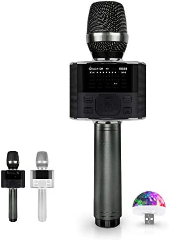 Wireless Bluetooth Karaoke Microphone, with LED Screen, Portable Handheld MIC & Speaker for Birthday, Home Party, Presentation Android/iPhone/PC, automobile Microphone