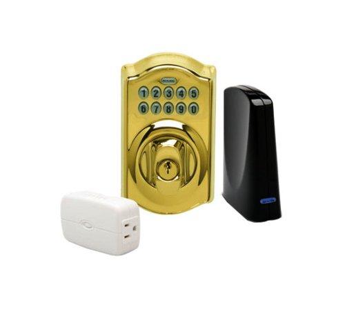 Schlage LiNK Wireless Keypad Deadbolt Starter Kit System, Bright Brass