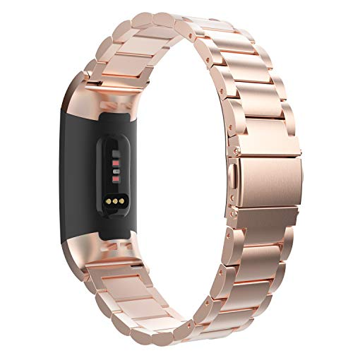 MoKo Compatible Band Replacement for Fitbit Charge 3, Premium Stainless Steel Metal Watch Band Replacement Strap Band Bracelet with Watch Lugs Fit Fitbit Charge 3 - Rose Gold (Triple Folding Clasp)