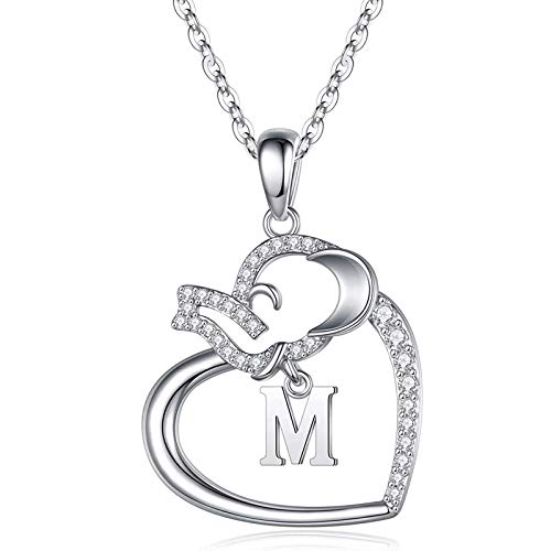 Sterling Silver Heart Necklaces for Women- Alphabet Heart Pendant for Women Girls Valentine\'s Day