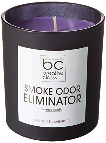 BREATHECLASSY Smoke Odor Eliminator Candle, Fresh Scent, Pure Natural Plants, Efficient for Eliminate Cigarettes, Cigars or Pets Odor in Home, Room and Car Air Freshener - GET RID of Smoke Odor ! ()