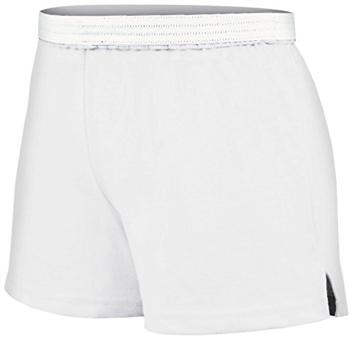 Soffe Juniors Athletic Short, White, Large - Poly Workout Short