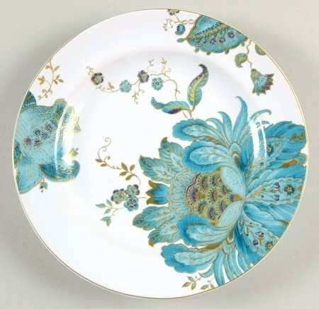 222 Fifth Eliza Teal Fine China Salad Plates, Set of 4,