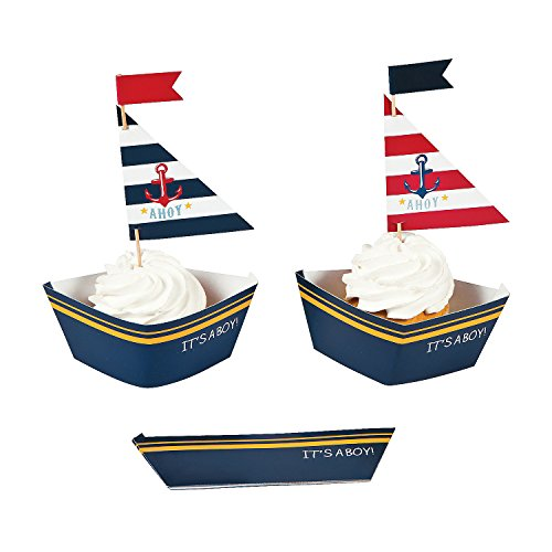 Fun Express Nautical Baby Boy Shower Cupcake Collars and Picks Decoration Set - 50 Units]()