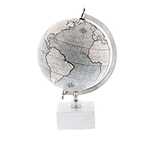 """Deco 79 28546 Matte Decorative Globe with Iron Ceramic Stand 13"""" x 9"""" Silver/Gray/White"""