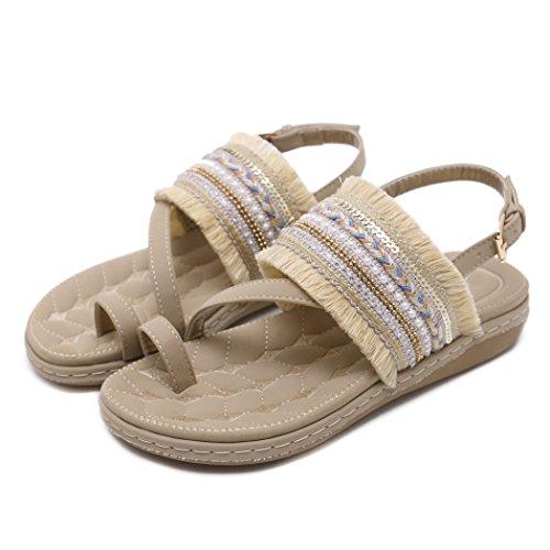 Chaussures Abricot pour Gland des des Dames de Plates de D'été Plage Sandales Bascule Femmes Ruiren de wqYUpZw